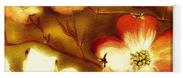 Yoga Mat featuring the painting Cherokee Rose Dogwood - Glow by Jan Dappen
