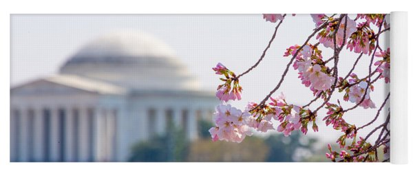 Cherry Blossoms And Jefferson Memorial Yoga Mat