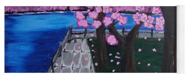 Yoga Mat featuring the painting Cherry Blossoms by Jimmy Clark