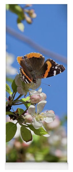 Monarch Butterfly On Cherry Tree Yoga Mat