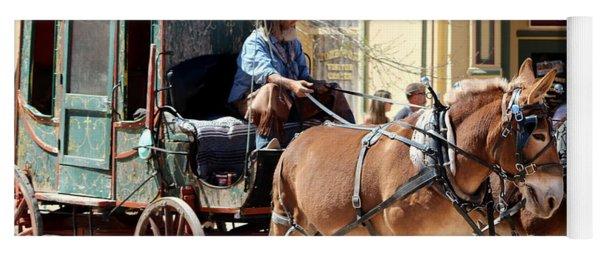 Chestnut Horses Pulling Carriage Yoga Mat