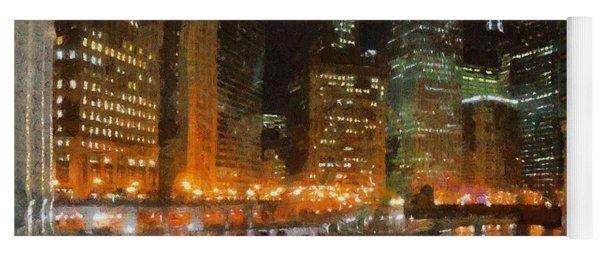 Chicago At Night Yoga Mat