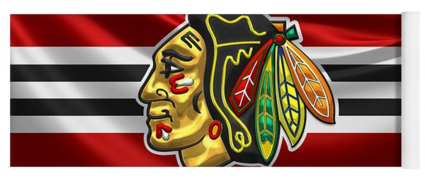 Chicago Blackhawks - 3 D Badge Over Silk Flag Yoga Mat