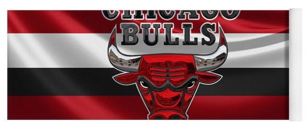 Chicago Bulls - 3 D Badge Over Flag Yoga Mat