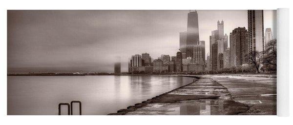 Chicago Foggy Lakefront Bw Yoga Mat