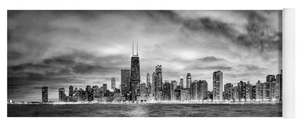 Chicago Gotham City Skyline Black And White Panorama Yoga Mat