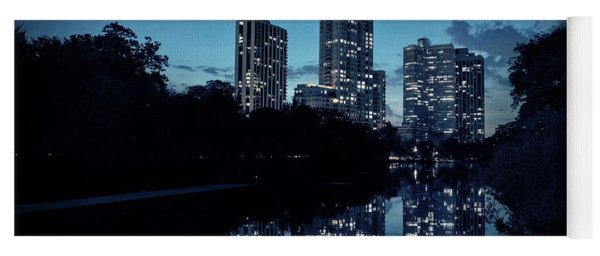 Chicago High-rise Buildings By The Lincoln Park Pond At Night Yoga Mat