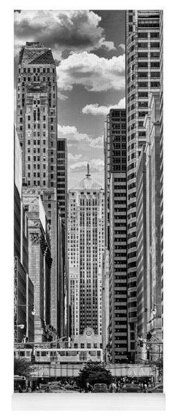 Chicago Lasalle Street Black And White Yoga Mat