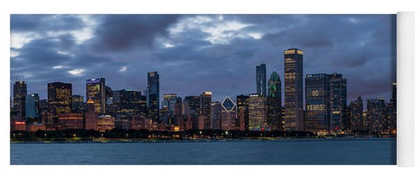 Chicago Night Skyline Yoga Mat