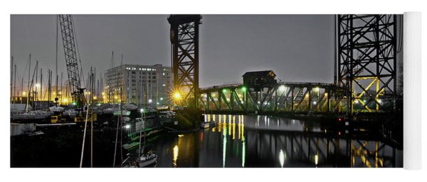 Chicago River Scene At Night Yoga Mat
