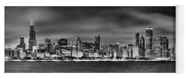 Chicago Skyline At Night Black And White Yoga Mat