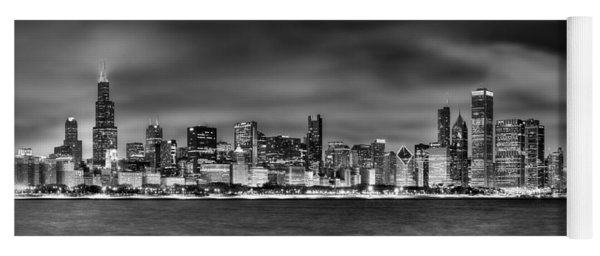 Chicago Skyline At Night Black And White Yoga Mat