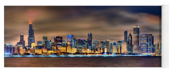 Chicago Skyline At Night Panorama Color 1 To 3 Ratio Yoga Mat