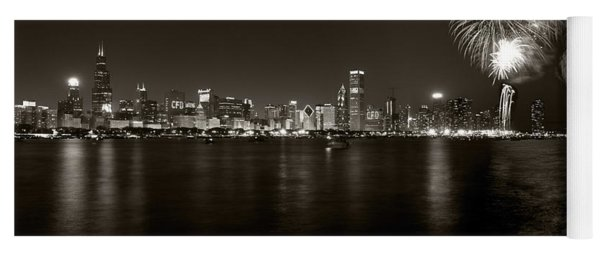 Chicago Skyline Fireworks Bw Yoga Mat