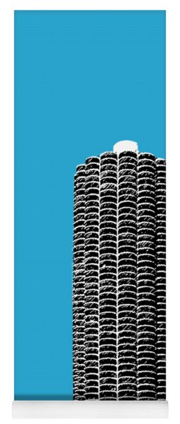 Chicago Skyline Marina Towers - Teal Yoga Mat
