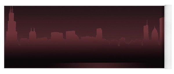 Chicago Skyline Mauve Outline Yoga Mat