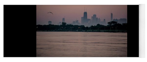 Chicago Skyline On Hazy Summe Morning Yoga Mat