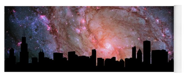 Chicago Skyline Silhouette Galaxy Yoga Mat