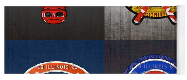 Chicago Sports Fan Recycled Vintage Illinois License Plate Art Bulls Blackhawks Bears And Cubs Yoga Mat
