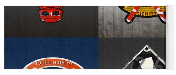 Chicago Sports Fan Recycled Vintage Illinois License Plate Art Bulls Blackhawks Bears And White Sox Yoga Mat