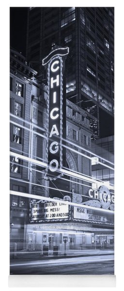 Chicago Theater Marquee B And W Yoga Mat