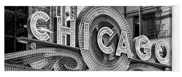 Chicago Theatre Marquee Black And White Yoga Mat