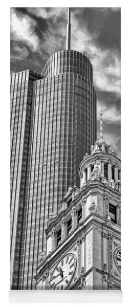 Chicago Trump And Wrigley Towers Black And White Yoga Mat