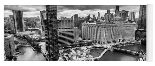 Chicago's Wolf Point From The 27th Floor Yoga Mat