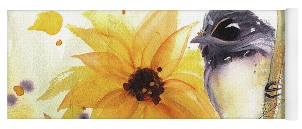 Chickadee And Sunflowers Yoga Mat
