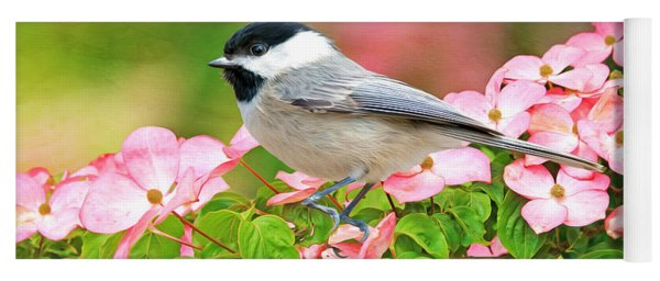 Chickadee On Dogwood Yoga Mat