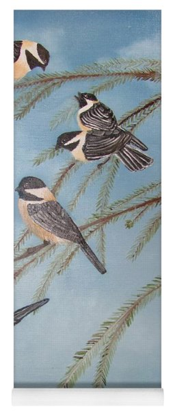 Chickadee Party Yoga Mat