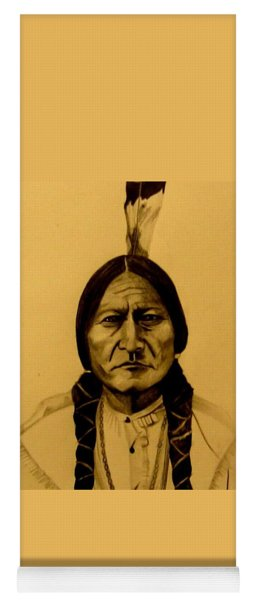 Yoga Mat featuring the drawing Chief Sitting Bull  Tatanka Iyotake by Michelle Dallocchio