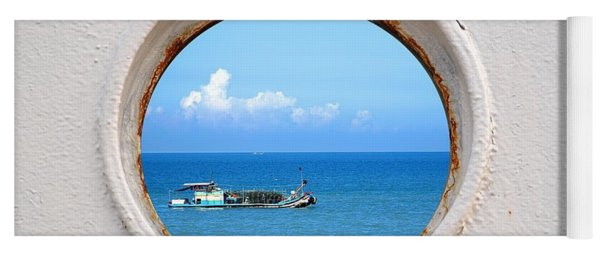 Chinese Fishing Boat Seen Through A Porthole Yoga Mat