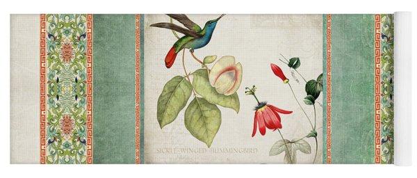 Chinoiserie Vintage Hummingbirds N Flowers 2 Yoga Mat