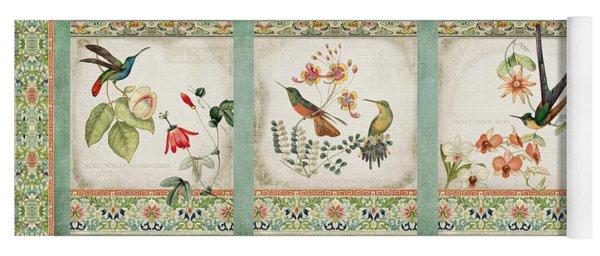 Triptych - Chinoiserie Vintage Hummingbirds N Flowers Yoga Mat