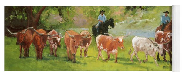 Chisholm Trail Texas Longhorn Cattle Drive Oil Painting By Kmcelwaine Yoga Mat