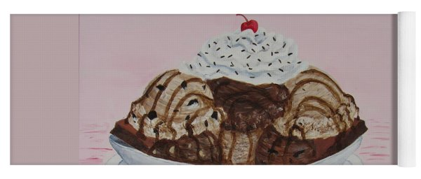 Yoga Mat featuring the painting Chocolatey Brownie Sundae by Nancy Nale