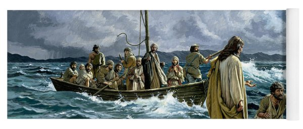 Christ Walking On The Sea Of Galilee Yoga Mat