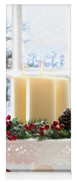 Christmas Candles Display Yoga Mat