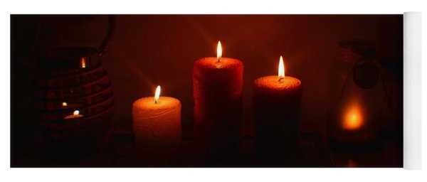 Christmas Candles In The Night Yoga Mat