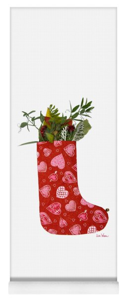 Christmas Heart Stocking With Bouquet Yoga Mat