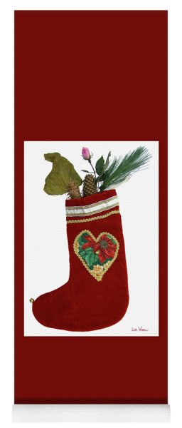 Yoga Mat featuring the photograph Christmas Stocking With Nature Gifts by Lise Winne