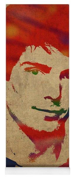 Christopher Reeve Watercolor Portrait Yoga Mat