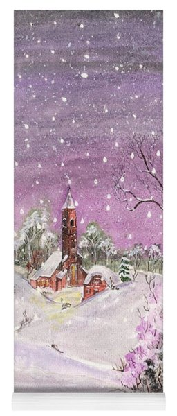 Yoga Mat featuring the digital art Church In The Snow by Darren Cannell