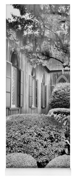 Yoga Mat featuring the photograph Church Of The Cross Bluffton Sc Black And White by Lisa Wooten