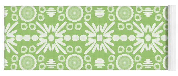Cilantro- Green And White Art By Linda Woods Yoga Mat