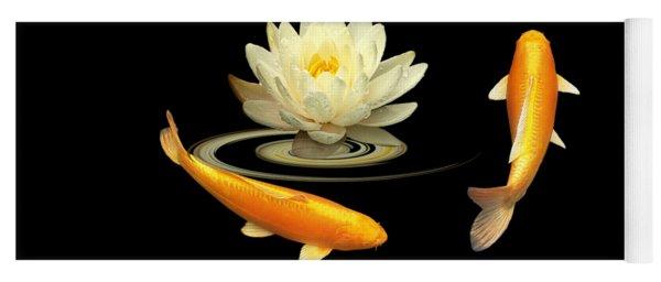 Circle Of Life - Koi Carp With Water Lily Yoga Mat