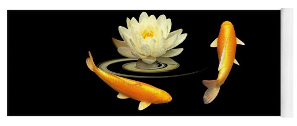 Circle Of Life - Koi Carp With Water Lily Yoga Mat