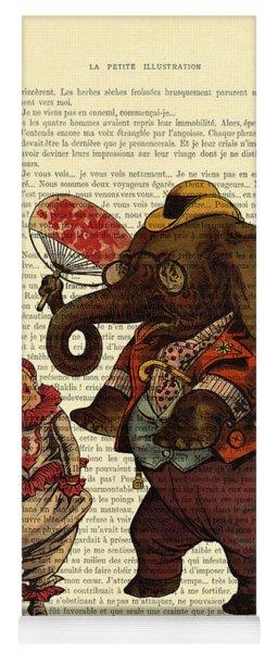 Clown With Circus Elephant Vintage Illustration Yoga Mat