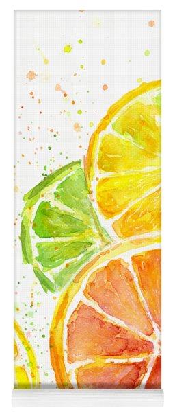 Citrus Fruit Watercolor Yoga Mat